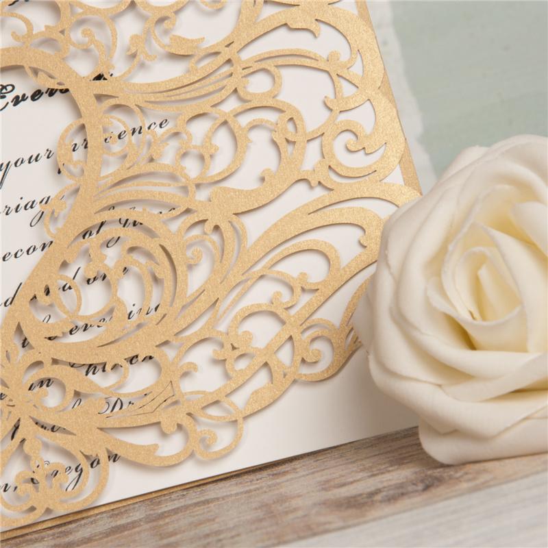 Lasercut Karte #A0077, Spitze Ornament Gold Hochzeitskarte Einladungskarte