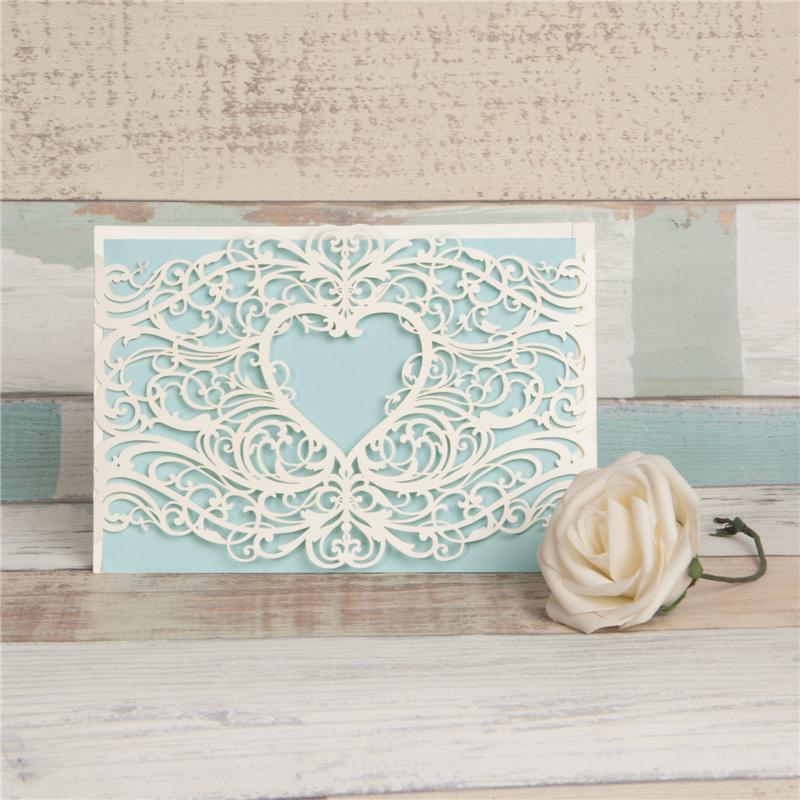 Lasercut Karte #A0077, Spitze Ornament Ivory Hochzeitskarte Einladungskarte