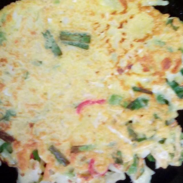 お好み焼き、ニラ入り、小松菜、青梗菜いり