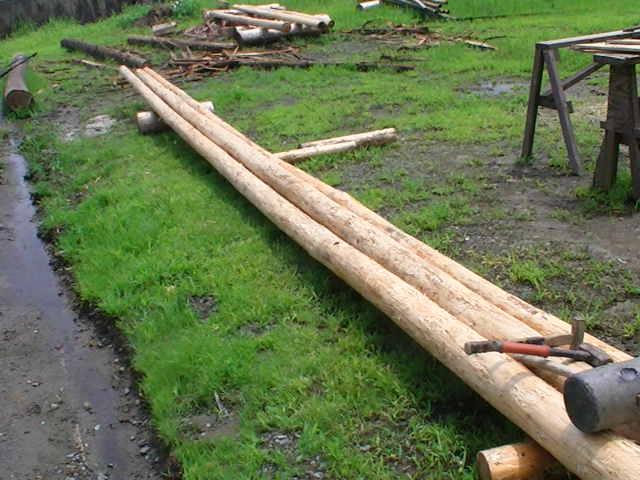 ケルヒャー高圧洗浄機使用後 木の皮むき
