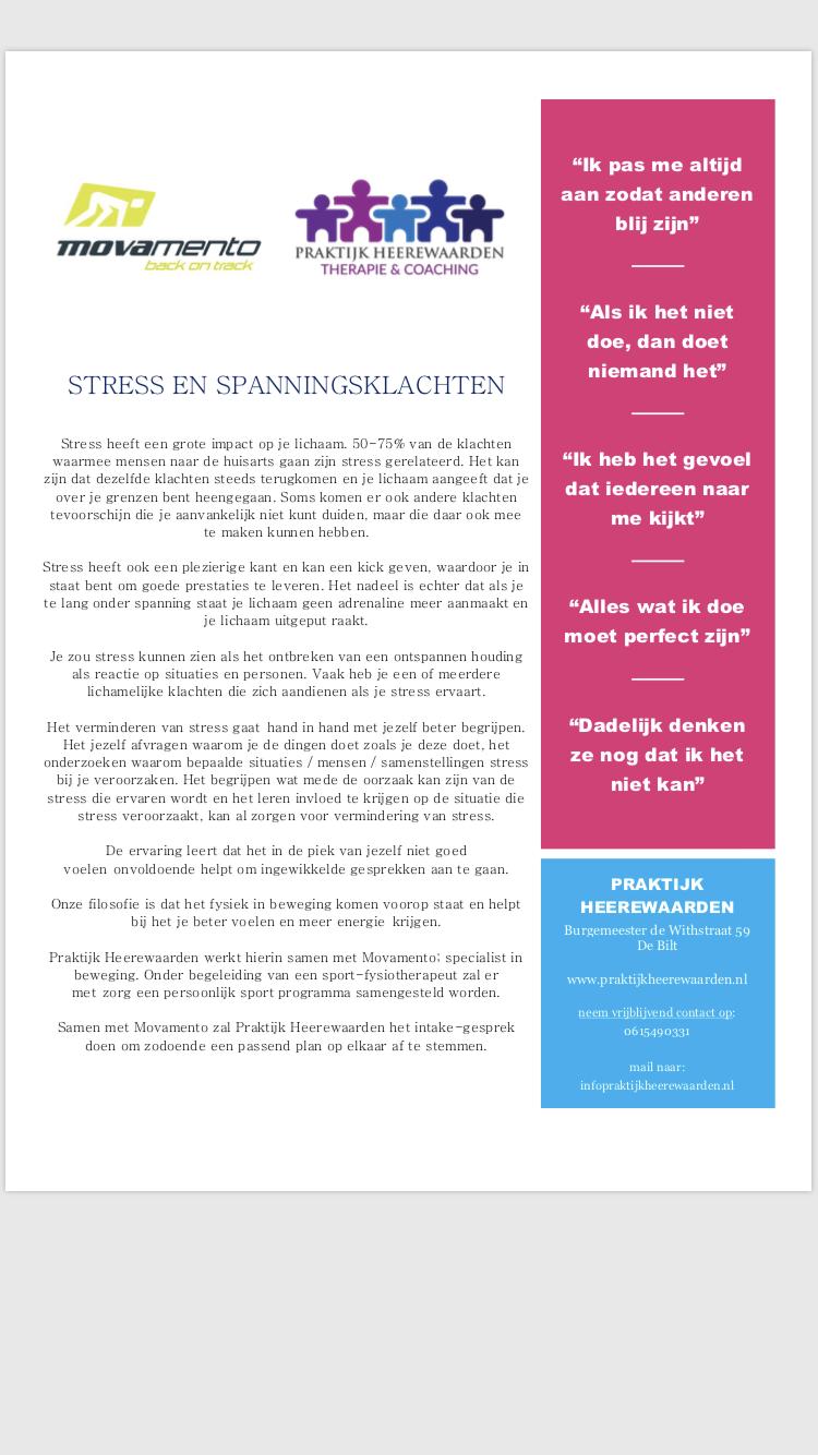 stress en spanningsklachtenMOV