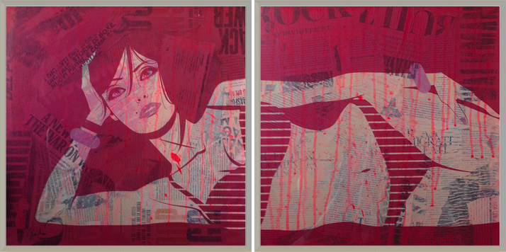print on plexiglass, collage on canvas