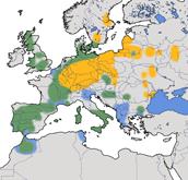 Karte zur Verbreitung des Rotmilans (Milvus milvus)
