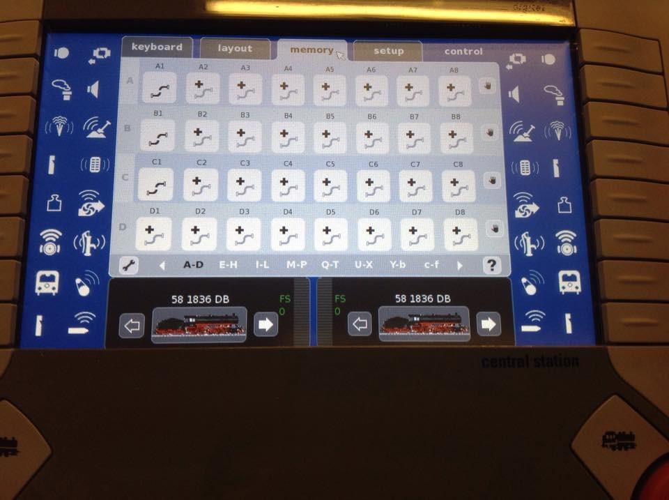 Memory aufrufen, mit dem Symbol Schraubenschlüssel eine Fahrstraße wählen (hierA2) umschalten auf Control