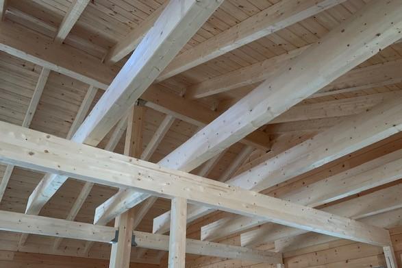 Holzhaus in massiver Blockbauweise - Balkenkonstruktion nach Statik - Sichtbalken