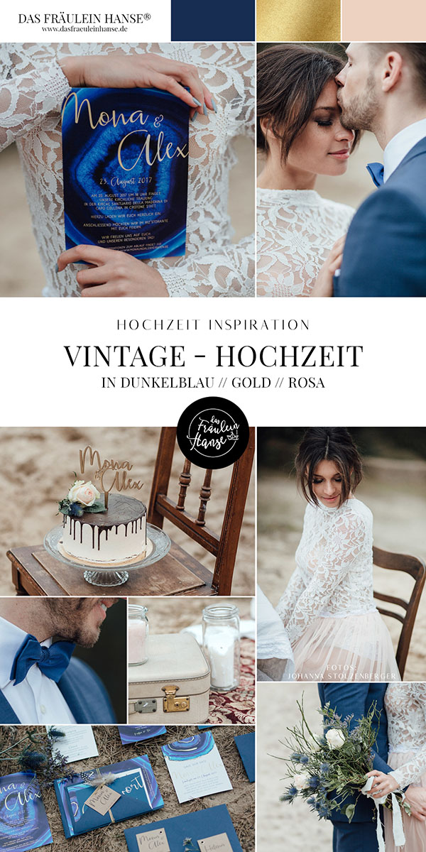 Hochzeitsinspiration Vintage Wedding Farbkombination Navy // Gold // Blush