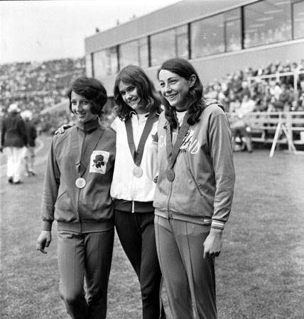 Moira (right) with 1970 Commonwealth Games gold medal winner Debbie Brill of Canada and runner-up Ann Wilson, England