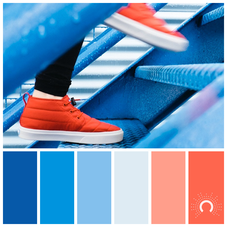 color palette, color combination, color combo, Farbpalette, hue, adamma stekovics, blue, light blue, dark blue, orange, graublau, red-orange, blau, hellblau, dunkelblau, rotorange, orange, lachsfarben