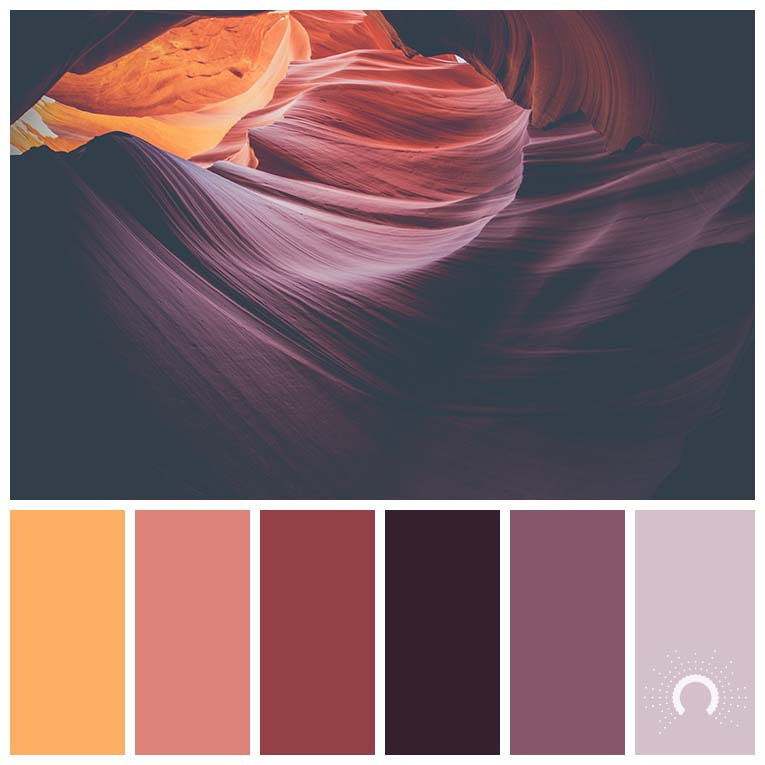 color palette, color combination, Farbpalette, hue, yellow-orange, red-orange, red, red-violet, gelborange, lachs, rotorange, rot, lila, rotviolet