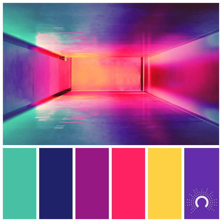 color palette, color combination, Farbpalette, hue, blue-green, blue, red-violet, red, yellow, violet, blaugrün, blau, rotviolet, rot, gelb, lila