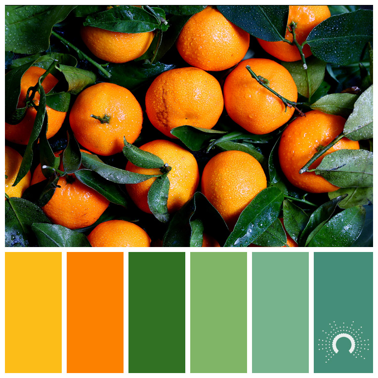 color palette, color combination, Farbpalette, hue, orange, yellow-orange, green, blue-green, blaugrün, grün, gelb