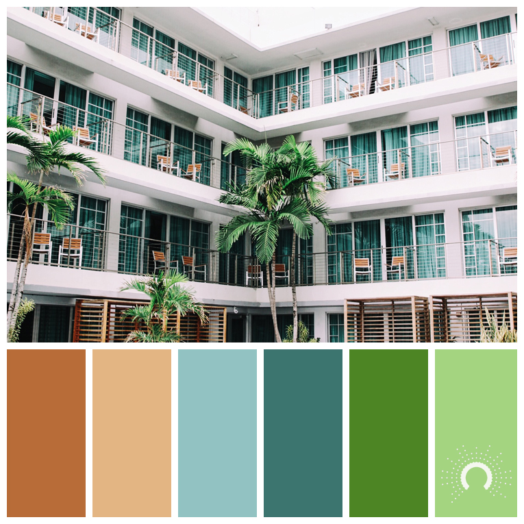 color palette, color combination, color combo, Farbpalette, hue, orange, blue, blue-green, green, grün, blaugrün