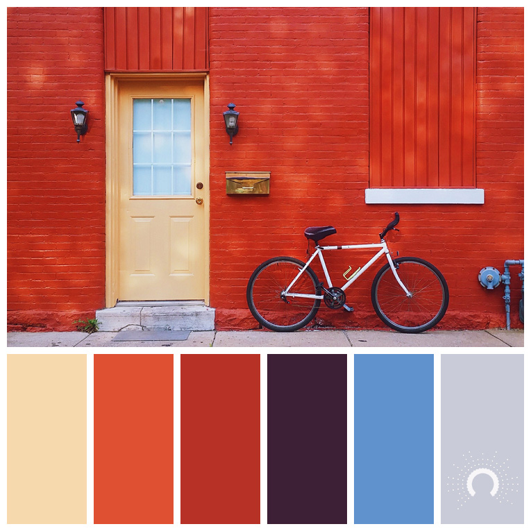 color palette, color combination, Farbpalette, hue, yellow-orange, red-orange, orange, red-violet, blue, gray, blau, grau, rotorange, gelborange, lila