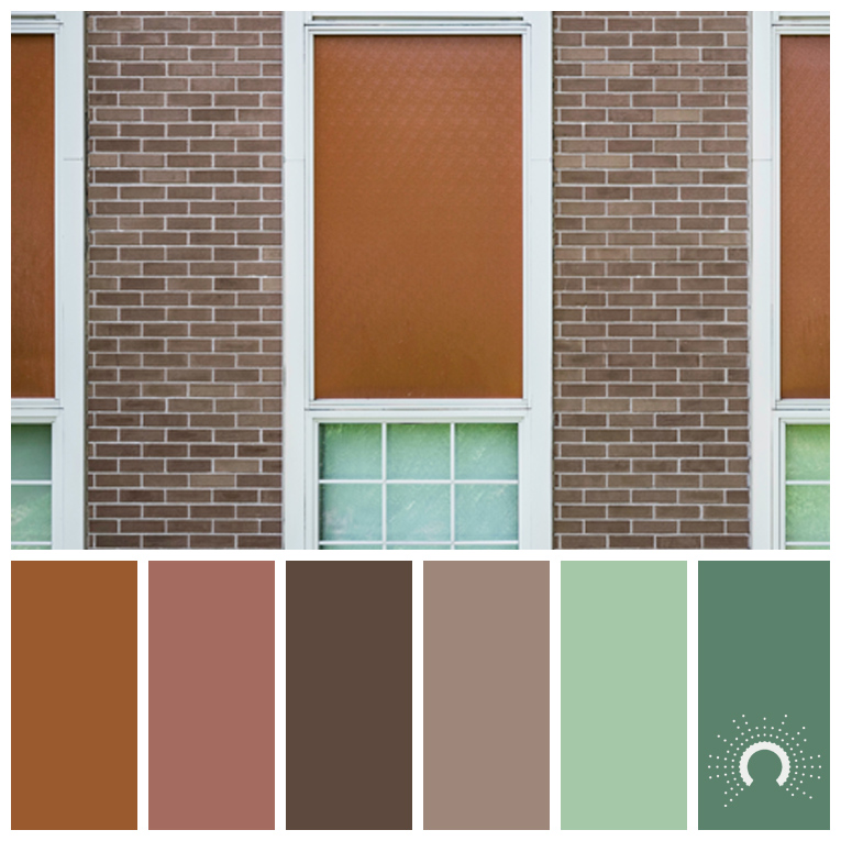 color palette: green, brown, red