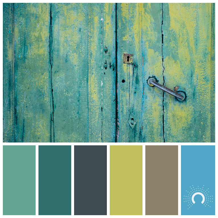 color palette, color combination, color combo, Farbpalette, hue, green, blue-green, brown, yellow-orange, green, gray, blue, blau, grün, blaugrün, braun, grau