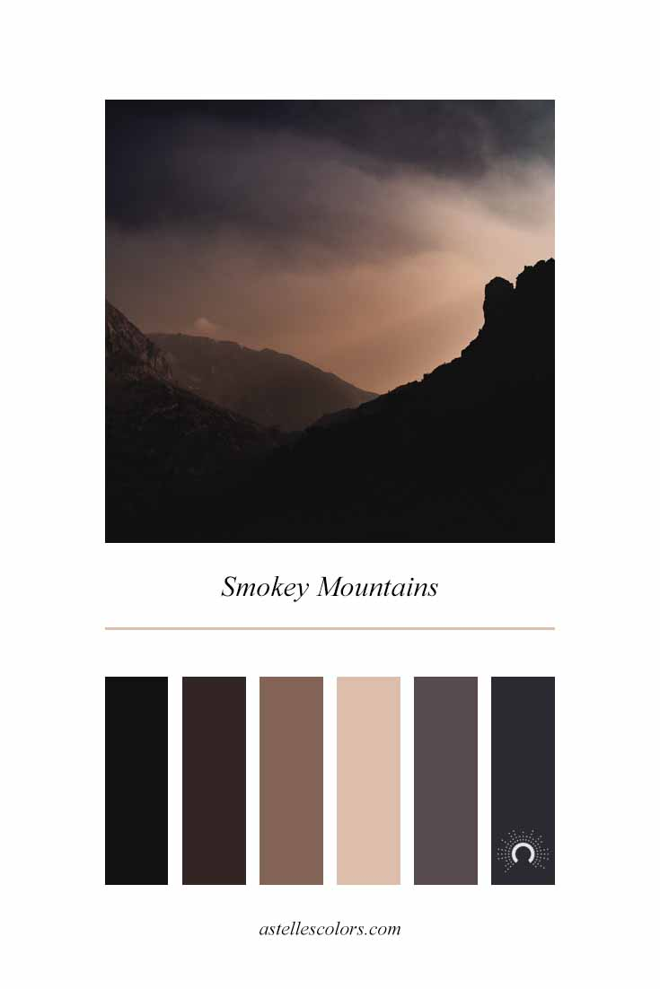 Color inspiration | smokey mountains |  - warm-cool color harmony: red, red orange, red violet, blue violet. Colors for a coffee business.
