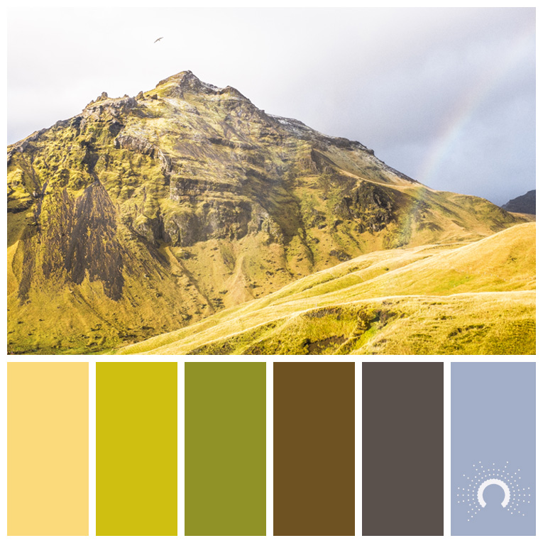 color palette, color combination, Farbpalette, hue, Hügel, Wiese, grün, green, mountains