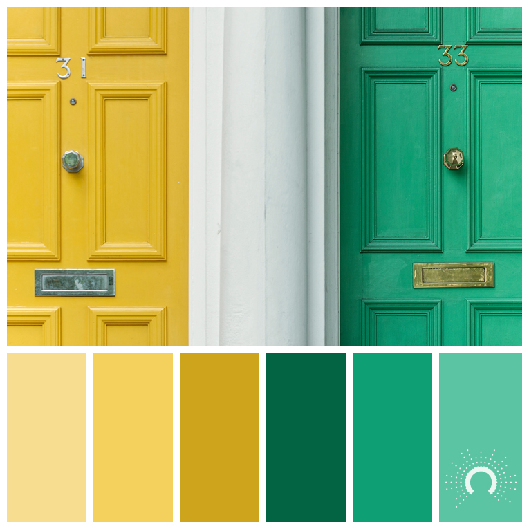 color palette, color combination, color combo, Farbpalette, hue,  yellow, yellow-orange, green, blue-green, gelb, orangegelb, grün, blaugrün