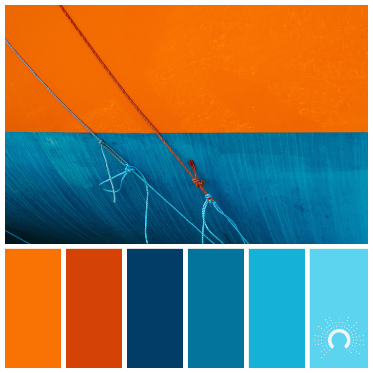 color palette, color combination, Farbpalette, hue, orange, red-orange, blue, light blue, blau, rotorange, blau