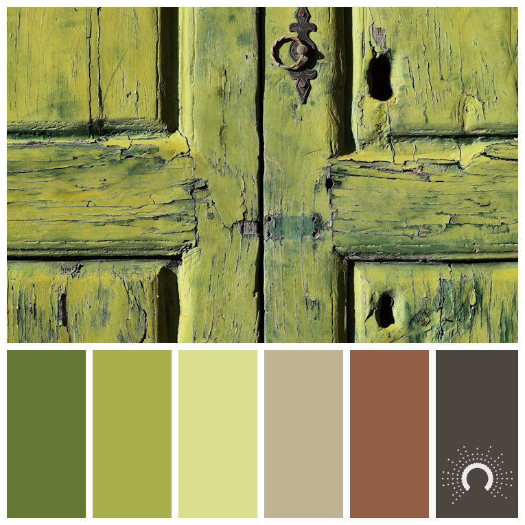 color palette, color combination, color combo, Farbpalette, hue, yellow-green, green, yellow, red, brown, sand, beige, grey