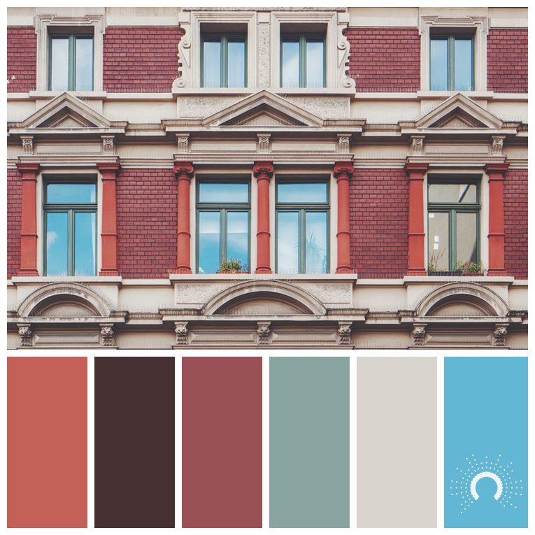 color palette, color combination, Farbpalette, hue, red-orange, red-shades, blue-green, beige, blue, rotorange, dunkelrot, blaugrün, beige, blau