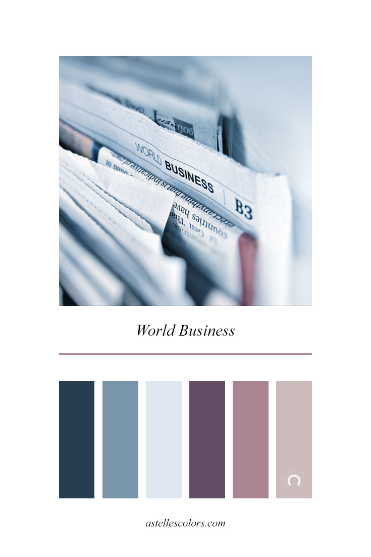 Color inspiration | world business |  - warm-cool color harmony: blue, beige, purple, red violet