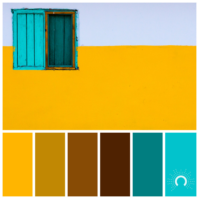 color palette, color combination, Farbpalette, hue, yellow, gelb, turquoise, türkis, complementary color harmony, komplementär