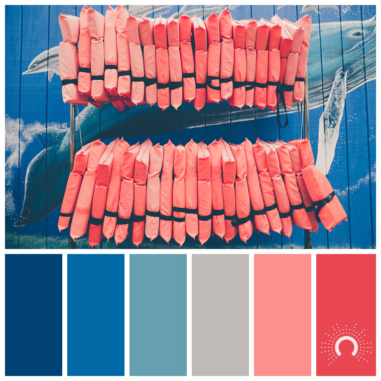 color palette, color combination, color combo, Farbpalette, hue, adamma stekovics, blue, grey, gray, red-orange, red, blue-green, blau, grün, blaugrün, rotorange, rot, blau, hellblau, grau