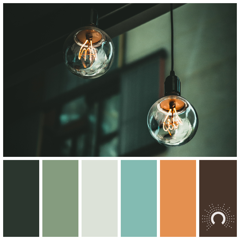 color palette, color combination, color combo, Farbpalette, hue, green, blue-green, orange, brown