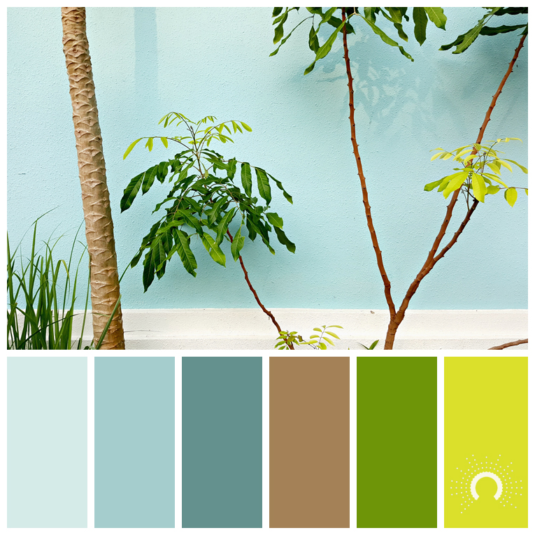 color palette, color combination, color combo, Farbpalette, hue, green, blue-green,brown, blau, grün, grünblau, braun, orange