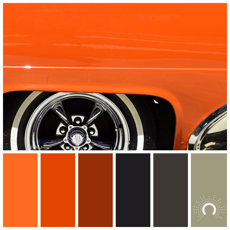 color palette, color combination, Farbpalette, hue, orange, red-orange, yellow-green, gray, grey, gelbgrün, grau, blauschwarz, braun, rotbraun