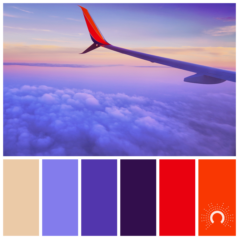 color palette, color combination, Farbpalette, hue, blue, violet, red, orang, sans, beige, lila, rot, orange