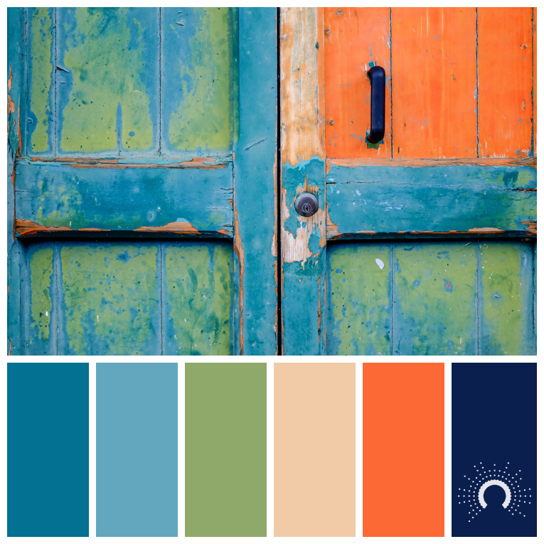 color palette, color combination, color combo, Farbpalette, hue, blue, beige, green, orange, grün, blau