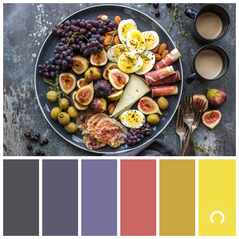 color palette, color combination, color combo, Farbpalette, hue, adamma stekovics, grey, gray, blue-violet, red, yellow-green, yellow, gelb, grüngelb, rot, pink, grau, blauviolet, lila