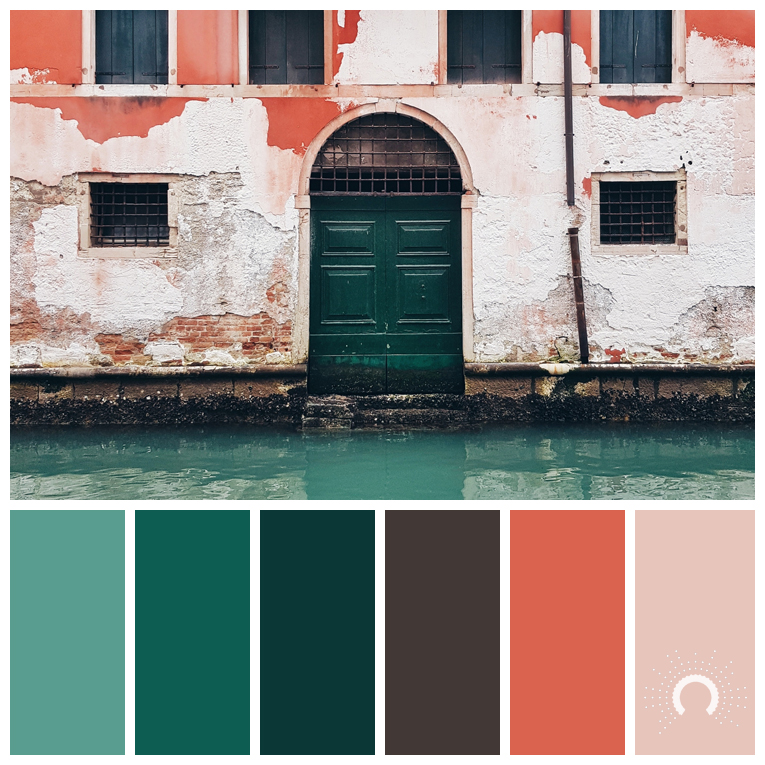 color palette, color combination, color combo, Farbpalette, hue, green, blue-green,brown, blau, grün, grünblau, braun, orange, rotorange, redorange