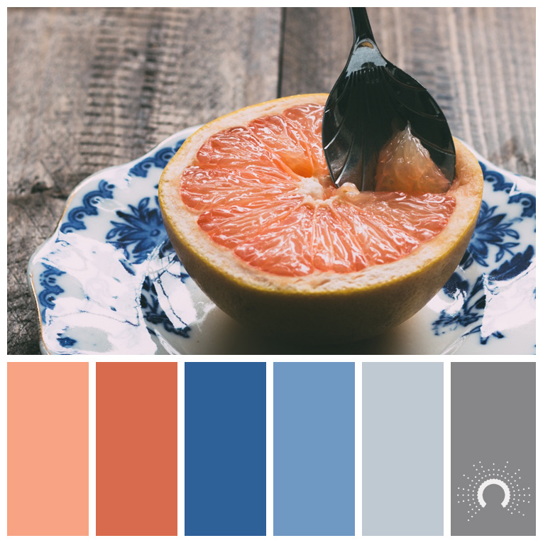 color palette, color combination, Farbpalette, hue, red-orange, rotorange, blue, light blue, grey, gray, grau, blau, hellblau