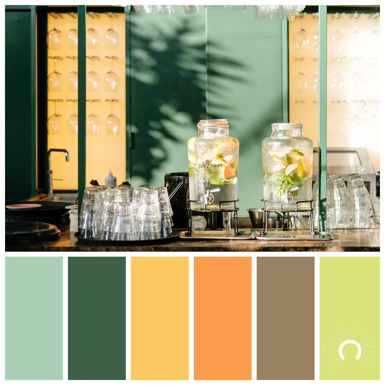 color palette, color combination, color combo, Farbpalette, hue,green, yellow, yellow-orange, orange, brown, yellow-green, gelbgrüm
