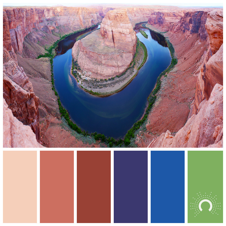 color palette, color combination, Farbpalette, hue, red-orange, rotorange, blue, violett, blau, blue, green, grün