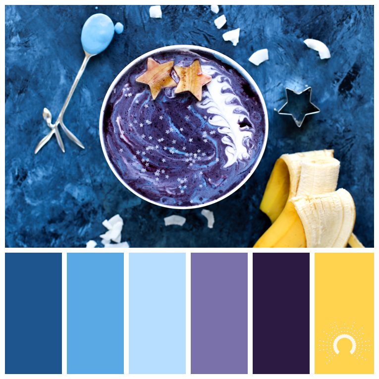 color palette, color combination, Farbpalette, hue, blue, violet, yellow, blau, hellblau, lila, gelb