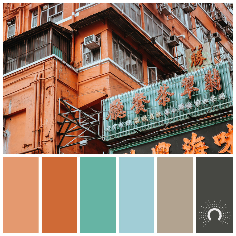 color palette, color combination, Farbpalette, hue, red-orange, rotorange, blue-green, blaugrün, beige, gray, grau