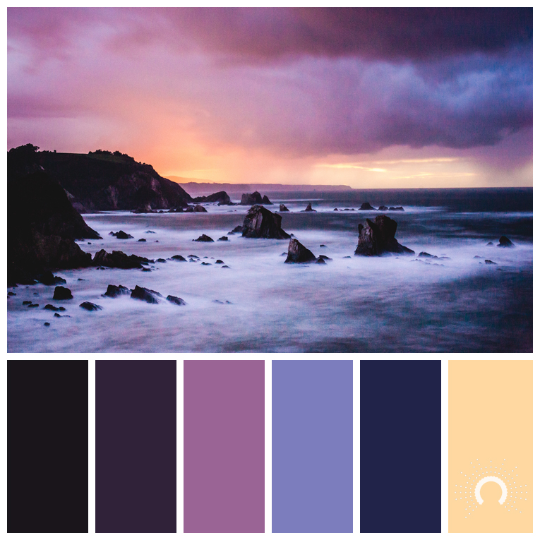 color palette, color combination, color combo, Farbpalette, hue, blue-violet, violet, purple, orange, yellow-orange, gelb, lila, astelle, astelles, adamma, stekovics