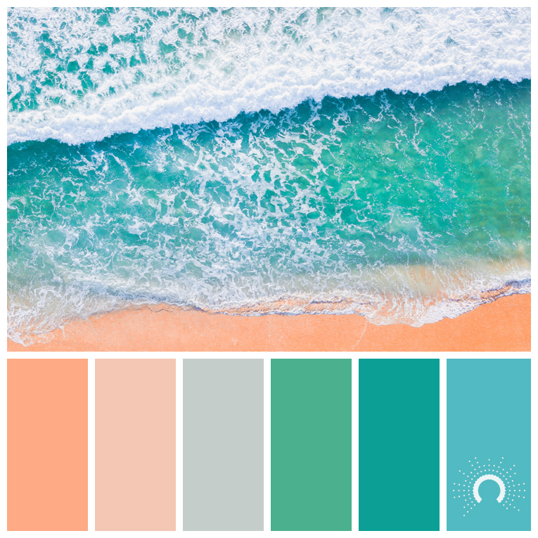 color palette, color combination, color combo, Farbpalette, hue, blue-green, red-orange, blue, green, grau, gray, grey, salmon, lachsfarben, blau, grün