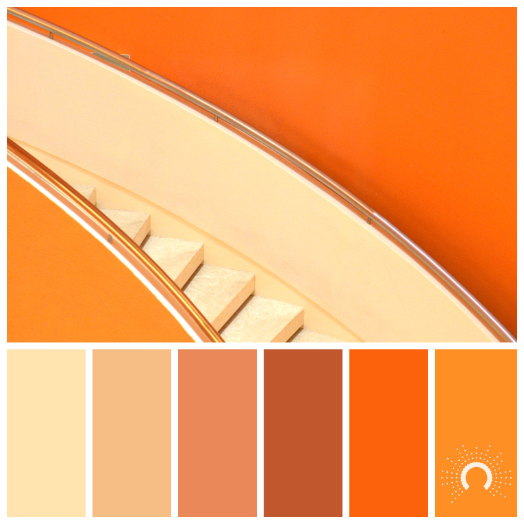 color palette, color combination, Farbpalette, hue, orange, red-orange, rotorange, gelborange