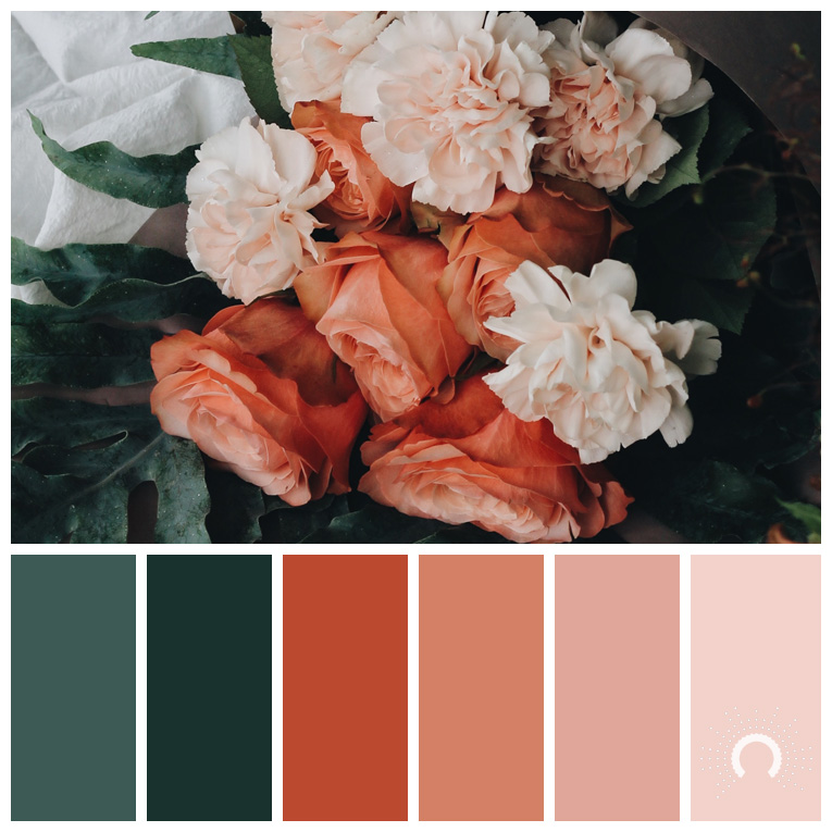 color palette, color combination, Farbpalette, hue, red-orange, rotorange, blue-green, blaugrün, rosa, rose
