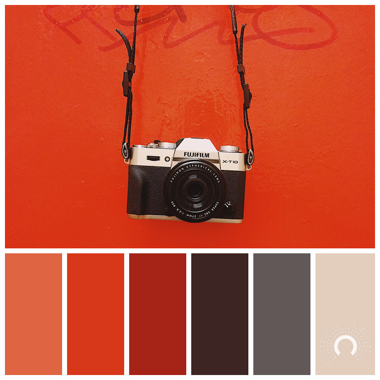 color palette, color combination, Farbpalette, hue, red, red-orange, brown, grey, beige, rot, rotorange, braun, grau, sand