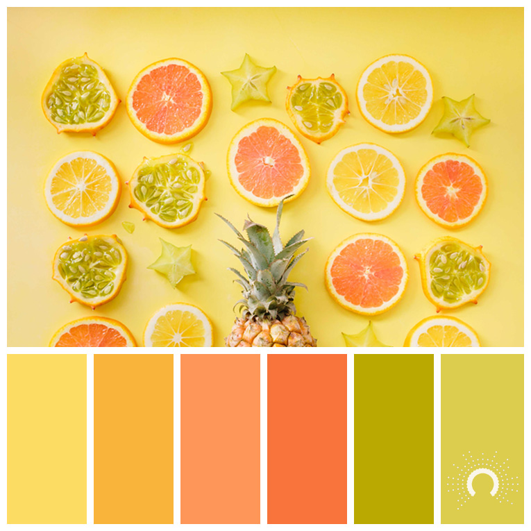 color palette, color combination, Farbpalette, hue, grün, gelb, blau, orange, yellow, green, blue, analogous