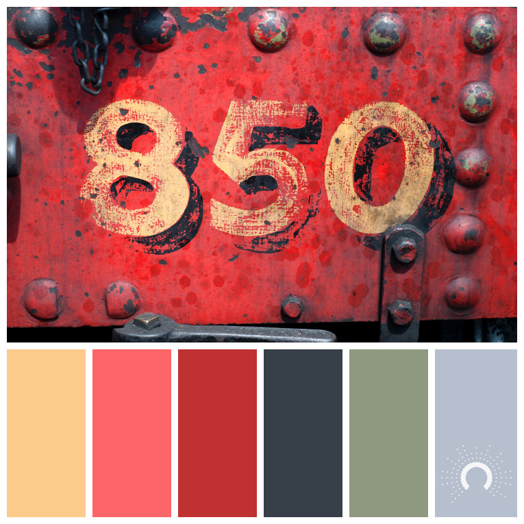 color palette, color combination, Farbpalette, hue, yellow-orange, red-orange, red, gray, green, blue, gelborange, rotorange, rot, grau, grün, blaugrau