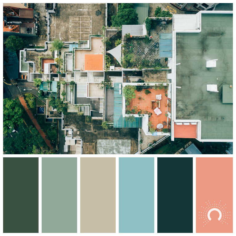 color palette, color combination, color combo, Farbpalette, hue, green, yellow-orange, sand, beige, blue, green-blue, red-orange, grün, blau, blaugrün