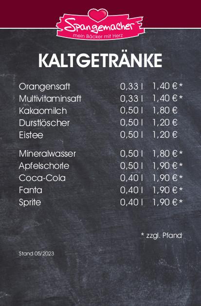 Kaltgetränke Bäckerei Spangemacher