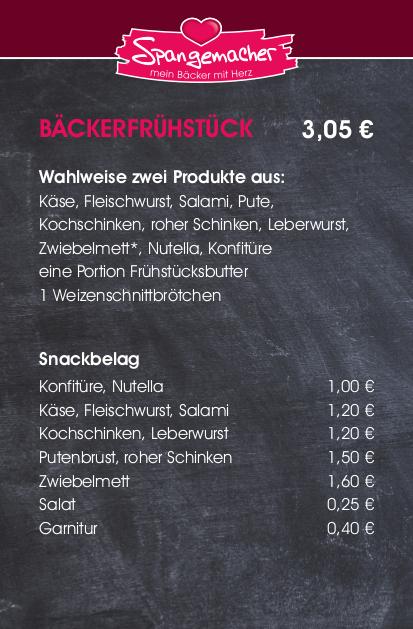 Frühstück Bäckerei Spangemacher